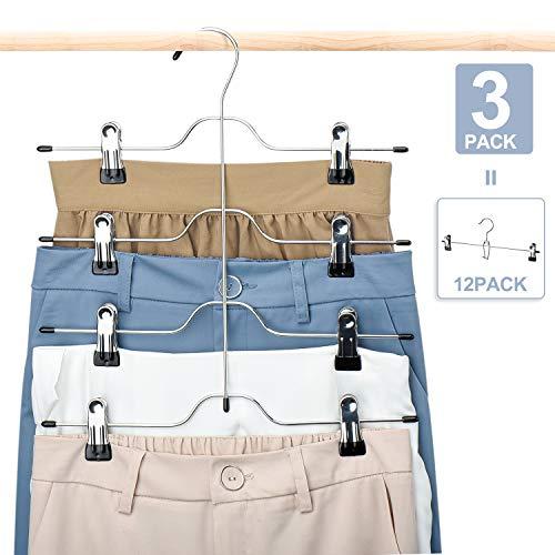 HOUSE DAY Skirt Hangers 4 Tier Skirt Hangers with Clips3 Pack Space Saving Pants HangersMulti Slack Skirt Hanger Metal Trouser Clip Hangers for SlackTrouserJeansTowels