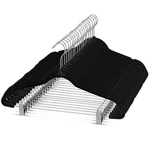 Premium Velvet Skirt Hangers 20 Pack Non Slip Velvet Pants Hangers with Metal Clips 360° Hook Durable Ultra Thin Space Saving Velvet Hangers Notched Clothes Hangers for Suits Dress Shirt