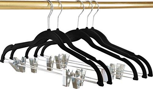 Premium Velvet Hangers Pack of 12 Heavy Duty - Non Slip - Velvet Suit Hangers with Clips For Pants or Skirt Hanger- by Utopia Home Black