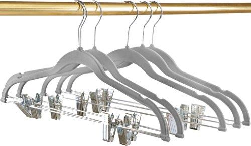 Premium Velvet Hangers Pack of 12 Heavy Duty - Non Slip - Velvet Suit Hangers with Clips For Pants or Skirt Hanger - by Utopia Home Grey