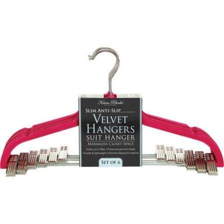 Simplify Velvet 6 Pack Suit Hanger with Clips Fuchsia