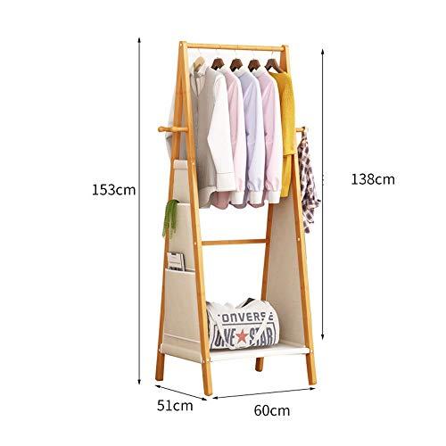 JIAYING Coat Racks Coat Rack Floor-Standing Bamboo Hanger Bedroom Living Room Corridor Multi-Function Hanger Hanging Rod Rack Multiple Storage Space Home Storage Rack Multifunction Size  60cm