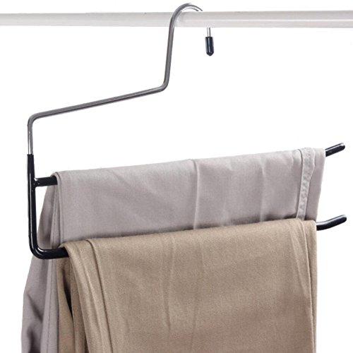 Frjjthchy 5 Pcs 2-Tier Metal Open Ended Pants Hangers Trousers Jean Organizers Hanger Black