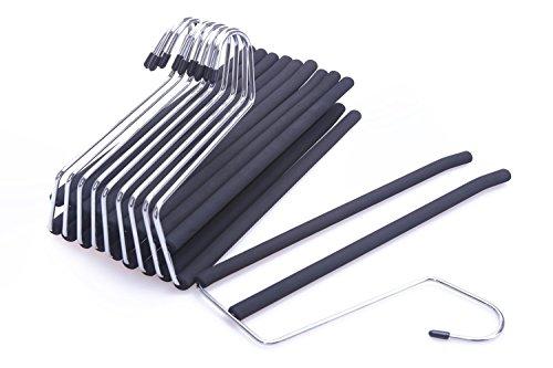 JS Hanger 2-Tier Open Ended Slack Pant Hangers with Non-slip Foam Coated Black 10-Pack
