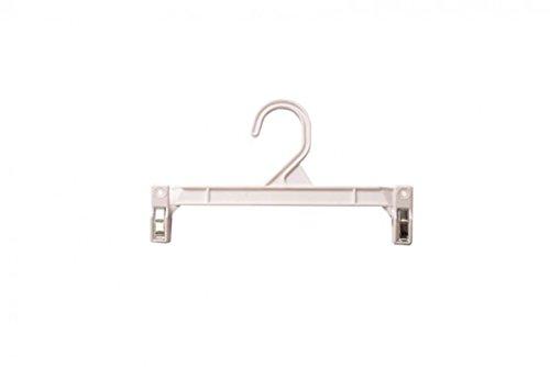 NAHANCO H29W Pinch Clip Plastic Hook SkirtSlack Hanger 9 12 White Pack of 100