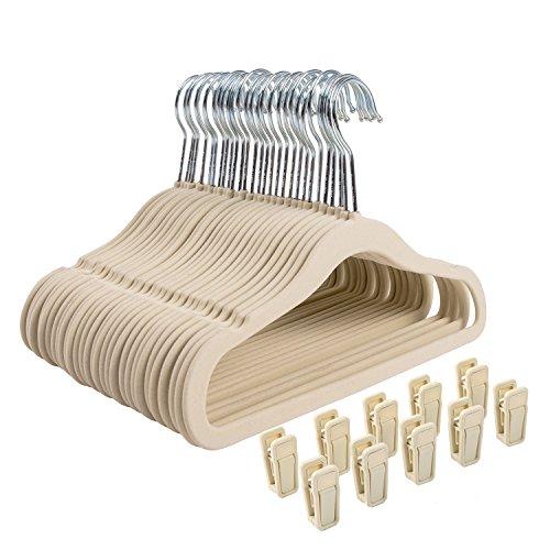 Finnhomy Non-slip Clothes Hanger for Baby and Kids 30-Pack Velvet Hangers with 10 Finger ClipsBeige
