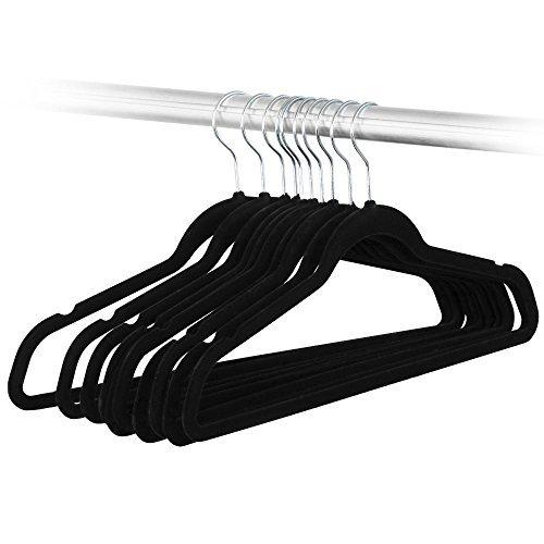 Black 200 packs Heavy Duty Non-Slip Clothes Hangers Velvet Space Saving Shirts Hangers Set in Bulk Sale