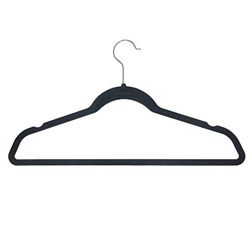 BriaUSA Velvet Suit Hangers Multipurpose Slim with Notched Shoulders Swivel Chrome Hooks – Black – Set of 10