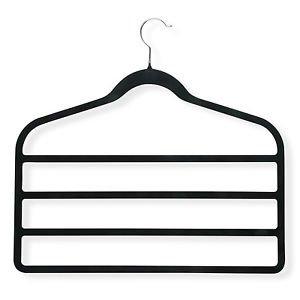 Multi-Purpose Velvet Hangers 5 - Scarf Jewelry Tie Pants Accessory Holder - for Men and Women - black non-slip surface - Perfect Closet Organizer