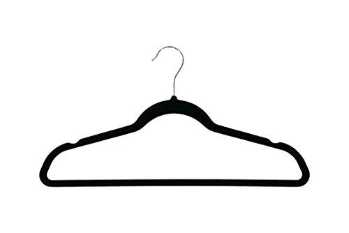 Newtech Display HVTB-17BLK Top Velvet Hanger with Hanging Bar Black Pack of 100