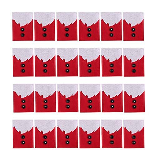 Amosfun Christmas Silverware Holder Pockets Red Cutlery Bag Decor Dinner Ornament Storage Bag 24pcs