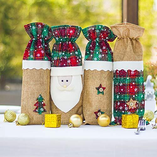 MeterMall Christmas Wine Bottle Bag Champagne Bottle Cover for Christmas Kitchen Decor New Year Ornament Storage Bag