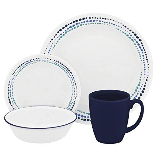 Corelle Livingware 16-Piece Dinnerware Set Ocean Blues Service for 4