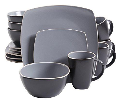 Gibson Home Soho Lounge Matte 16 Piece Dinnerware Set Grey