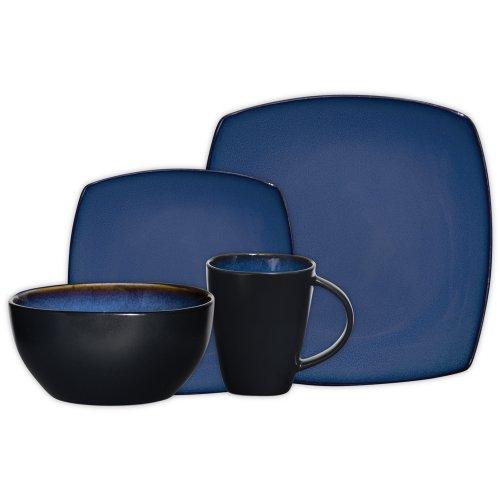 Gibson Soho Lounge 16-Piece Square Reactive Glaze Dinnerware Set  Blue