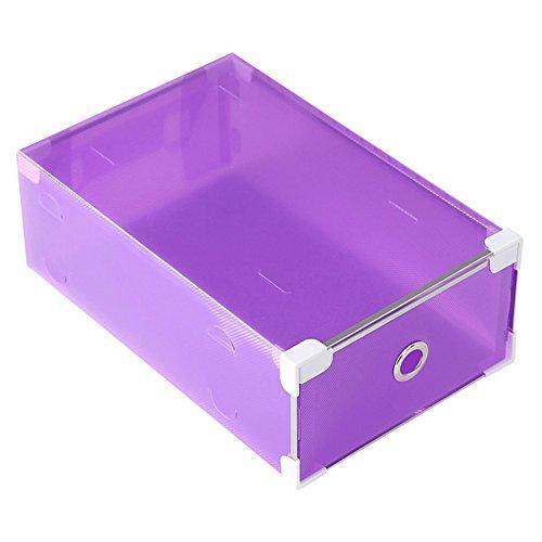 Julvie Multifunction Plastic Transparent Shoe Storage Box DIY Organizer Stackable Drawer Case