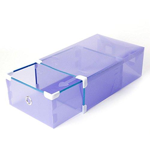 Kangnice Foldable Plastic Transparent Drawer Case Shoe Storage Stackable Box Organizer Purple