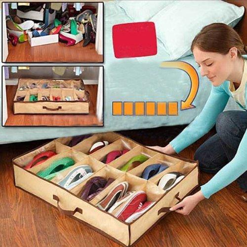 LUQUAN Fabric Storage Shoes BoxOrganizerHolder Up To 12 Pairs-Color Random