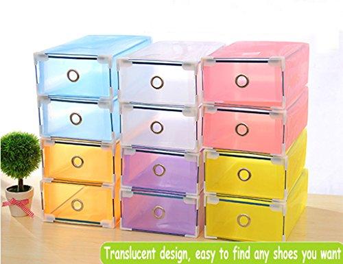 Women Men Foldable Plastic Shoe Boxes Organiser Drawer Stackable Storage Box Translucent 5PCS