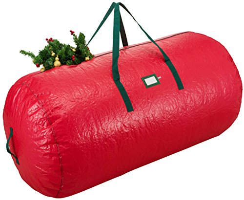 Zober Extra Large Christmas Tree Bag - Artificial Christmas Tree Storage for Un-Assembled Trees up to 9' Tall with Sleek Zipper - Also Accommodates Holiday Inflatables  60 x 30 x 30 Red