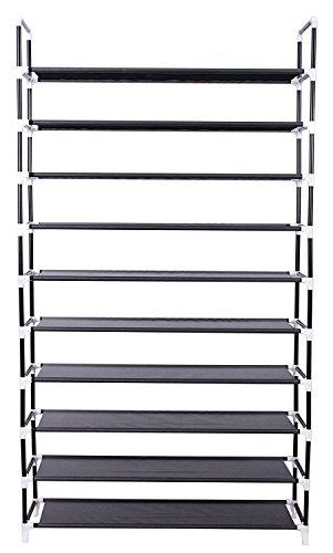 10-Tier Shoe Rack Shoe Tower Shelf Storage Organizer Cabinet Grey