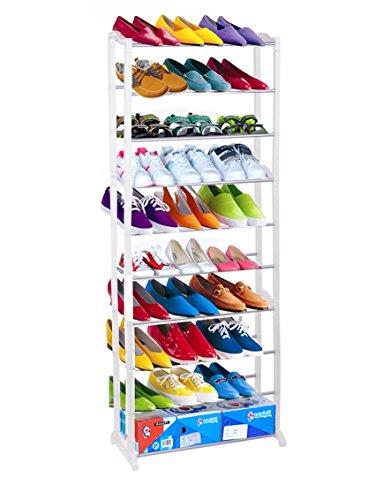 Adjustable 10 Tier Shoe Rack 30 Pairs Shoe Tower Space Saving Storage Organizer Cabinet Free Standing Shelf US STOCK