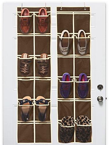 2 Pack - SimpleHouseware 12 Large Mesh Pocket Over Door Hanging Shoe Organizer Brown 58 x 125