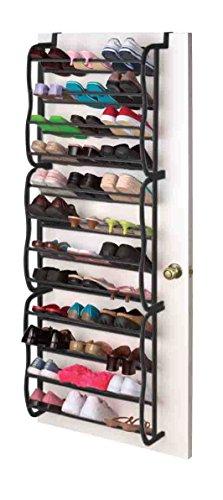 Sunbeam 36 Pair Easy Assemble Over the Door Shoe Rack in Black