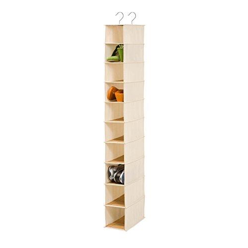 Honey-Can-Do SFT-01001 Hanging Shoe Organizer BambooCanvas 10-Shelf