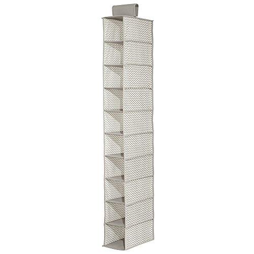 InterDesign Chevron Fabric Storage Hanging Shoe Closet Organizer -10 Shelves TaupeNatural