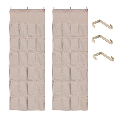 StorageManiac Sturdy 24-Pocket Over-The-Door Hanging Shoe Organizer With 3 Hooks Pack of 2 Beige