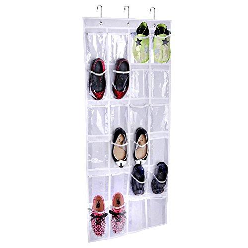 Crystal Clear Over The Door Shoe Organizer Yummy Sam 24-Pocket Hanging Shoe Holder Pockets for Shoe Storage