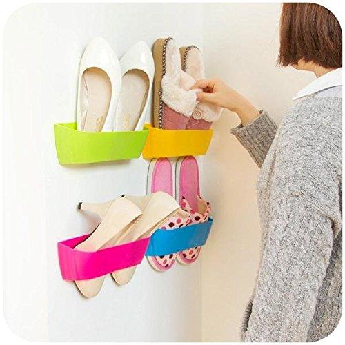 Pink Lizard DIY Paste Three-Dimensional Super Glue Hanging-Shoe Shelf Rack Wall Bureau Storage Box