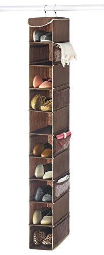 "Zober 10-Shelf Hanging Shoe Organizer Shoe Holder for Closet - 10 Mesh Pockets for Accessories - Breathable Polypropylene Java - 5 ½"" x 10 ½"" x 54"""