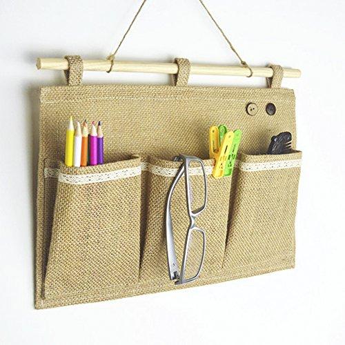 Co-link LinenCotton Fabric Wall Door Closet Hanging Storage Bag Organizer 3 Pockets