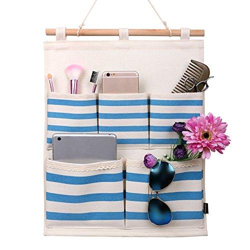 Homecube Linen Cotton Fabric 5 Pockets Wall Door Cloth Hanging Storage Bag Home Organizer Navy Stripe