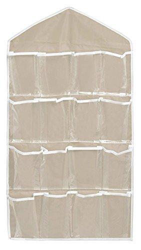OUUD 16 Pockets Clear Over Door Hanging Storage Bags Organizer for Socks Jewelry Bra Underwear Khaki