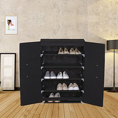 WOLTU ACSC1008blk-a 6 tiers Portable Shoe Rack Closet with Fabric Cover Shoe storage Cabinet Organizer Black