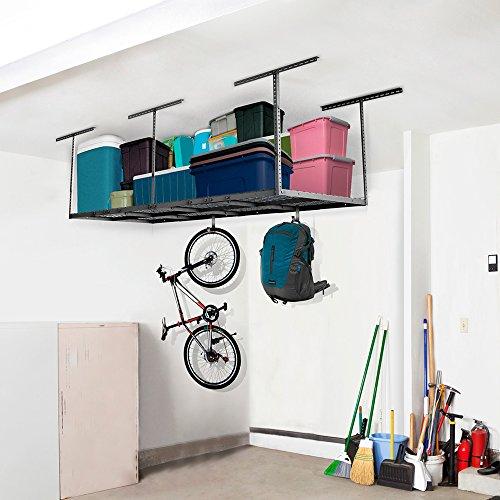 FLEXIMOUNTS 3x8 Overhead Garage Storage Rack Adjustable Ceiling Storage Rack Heavy Duty 96 Length x 36 Width x 40 Height Black