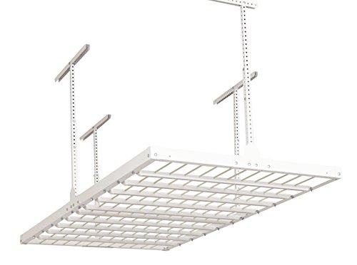 Monkey Bars Rack Ceiling Mounted Overhead Garage Storage System 750-Pound Capacity 4 X 8 White