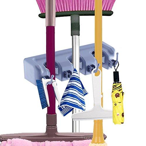 Mop and Broom Holder Cooper GTV Garage Storage Rack Hooks Wall Mounted Organizer for Home Garden Tool Shelving 3 position 4 hooks