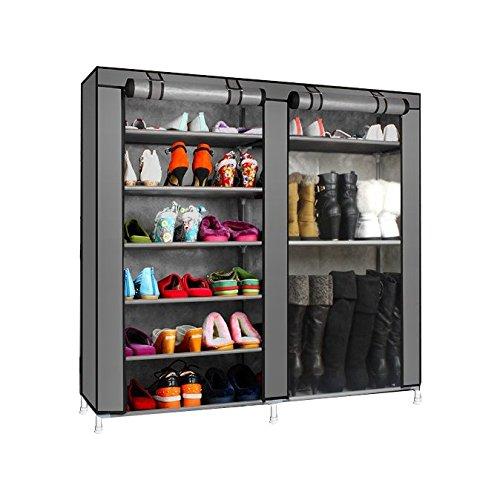 Magshion Super Portable Closet Rack Storage Cloth Shoe Organizer-3 Style Shoe Double Dark Gray