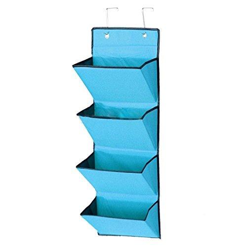 GreenSunTM Storage Rack - 4 Tier Wall Door Hanging Organiser Storage Rack Bag Cloth Wardobe Shoe Pocket Blue