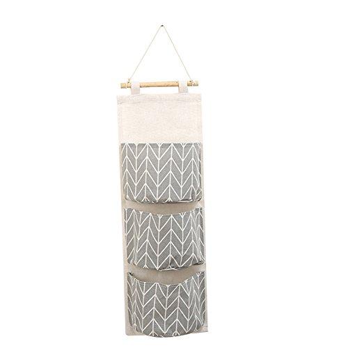 Meiyuan 3-Tier Over Door Hanging Organiser Storage Bag Linen Fabric Wall Closet Organiser