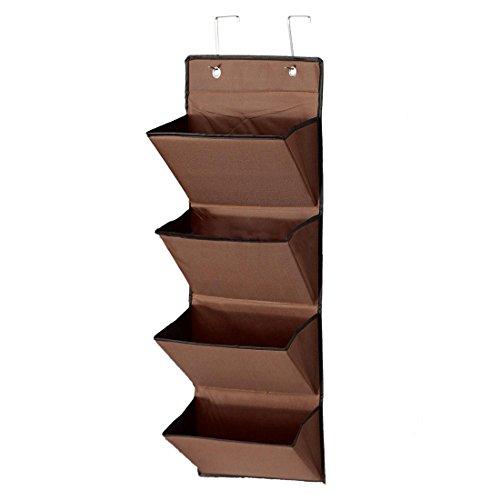 Storage Rack - TOOGOOR4 Tier Wall Door Hanging Organiser Storage Rack Bag Cloth Wardobe Shoe Pocket Brown