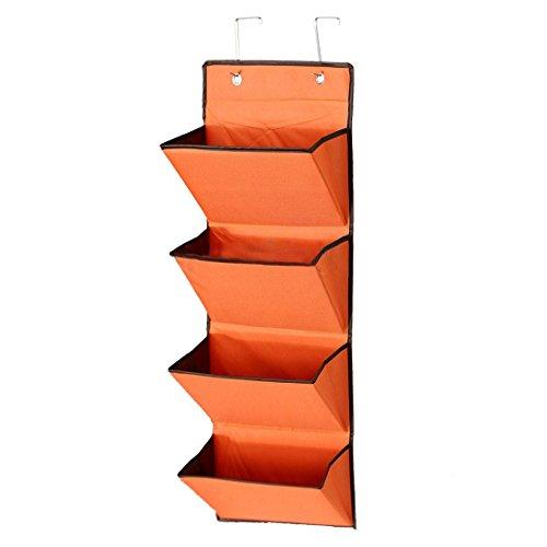 Storage Rack - TOOGOOR4 Tier Wall Door Hanging Organiser Storage Rack Bag Cloth Wardobe Shoe Pocket Orange