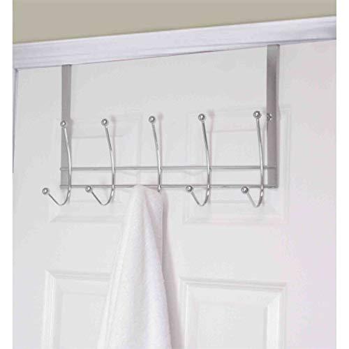 Chrome Steel 5-Hook Over The Door Hanging Rack Silver Metal