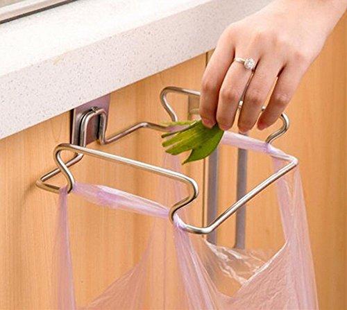 Creative back door stainless steel trash bag shelf storage hook multifunctional kitchen cabinet door hanging racks
