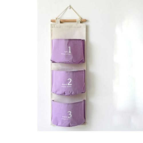 Fieans Home Ensencial Over the Door Wall Mount Colorful Hanging Pocket Storage Pocket Organizer Storage Bags Door Closet-Purple