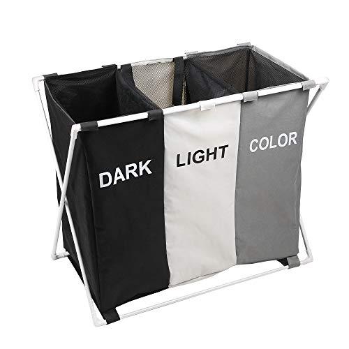 150L Laundry Cloth Hamper Sorter Basket Bin Foldable 3 Sections with Fiber Glass Frame 29×24H Washing Storage Dirty Clothes Bag for Bathroom Bedroom Home Multicolor ASSORT Black Beige Grey